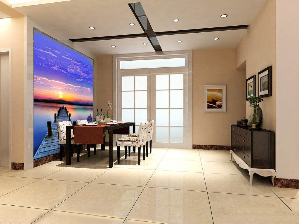 3D lila Sky Sunset Ferry Paper Wall Print Wall Decal Wall Deco Indoor Murals