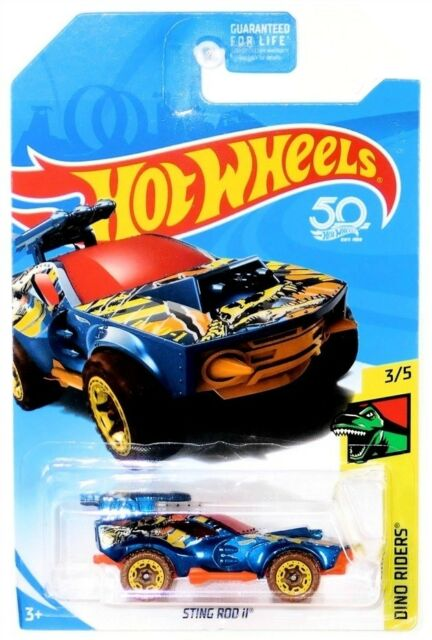 2018 Hot Wheels Dino Riders 3/5 Sting Rod II Blue Treasure Hunt Diecast Vehicle