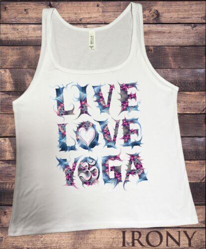 """JERSEY TANK TOP /'Live Yoga /""""Yoga AMATEUR OM Coeur Inde Print JTK1162 Love"""