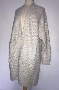 NEW-Anthropologie-Woven-Sweatercoat-Size-Large-Light-Gray-Cardigan-Sweater-Coat