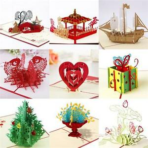 3D-Up-Greeting-Card-Handmade-Birthday-Valentine-Wedding-ChristmasInvitation