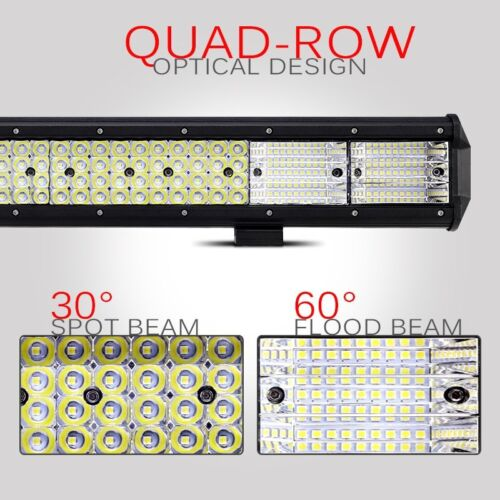 "20/"" 2016W QUAD ROW CREE LED LIGHT BAR SPOT FLOOD OFFROAD ATV UTV HUNTING WARNING"