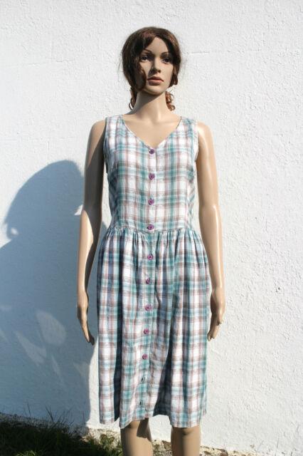 Vintage 90s Plaid Checked Button Through Day Dress Shirt Cream Green 12-14 M