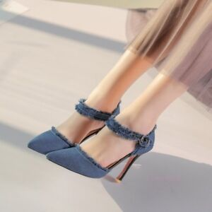2018-Spring-Women-039-s-Shoes-Pumps-High-Stiletto-Heel-Pointed-Toe-Denim-Fashion-New