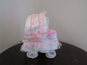 Diaper Cake Bassinet//Carriage Pink with Pink and Gray Elephants Theme