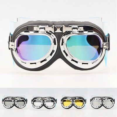 Retro Vintage Aviator Pilot Bike Motorcycle Cycling Goggles Eyewear Black Silver