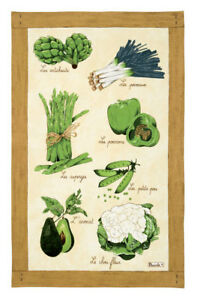 BEAUVILLE-Tea-Dish-Kitchen-Towel-FRENCH-Green-Vegetables-LEGUMES-VERTS-New-28