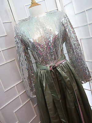 William Pearson I.Magnin Vintage 60's Sequin Dress Silver Green Size 14 New  HC