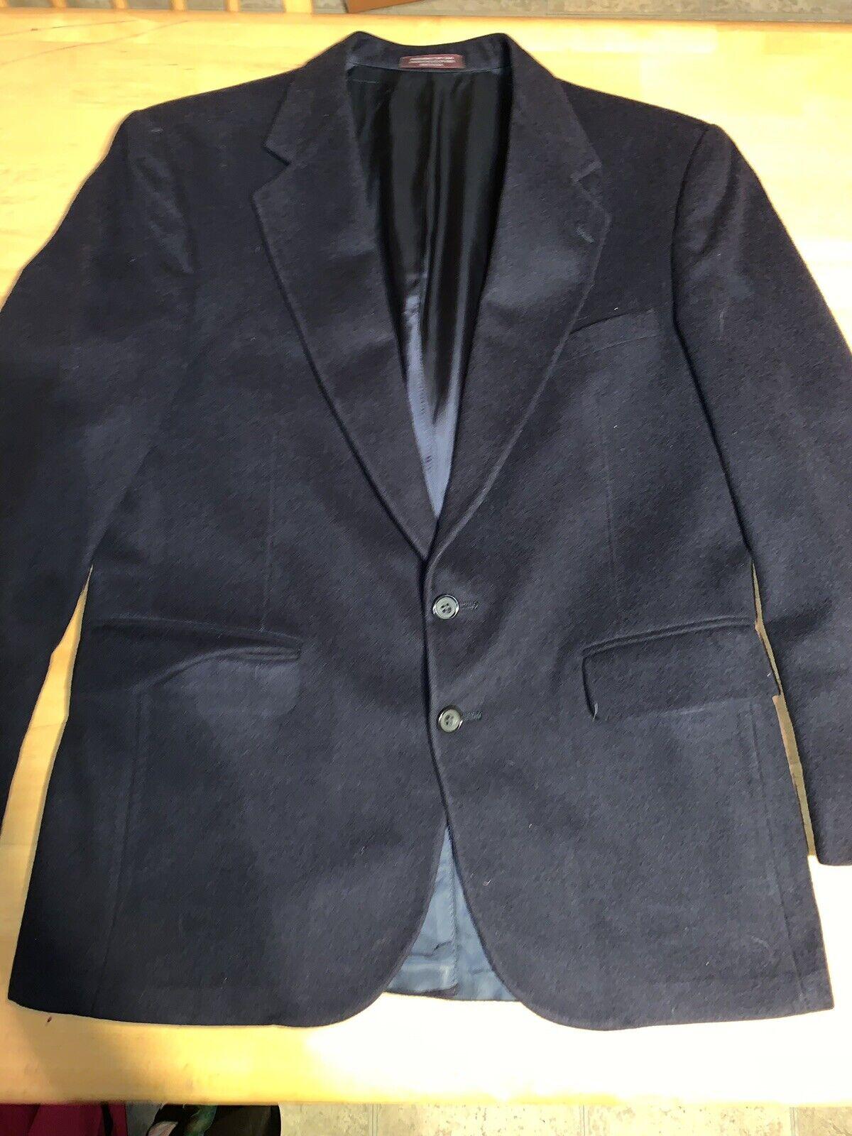 Evan Picone Sz 40 Navy bluee 100% Cashmere Blazer Sport Coat