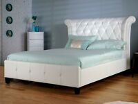 Elipse White Faux Leather Bed Frame In 2 Sizes, 4`6 & 5`0