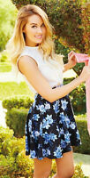 $44 Lauren Conrad Floral Pull On Dress Skirt Sz S 4,6 Xl 16