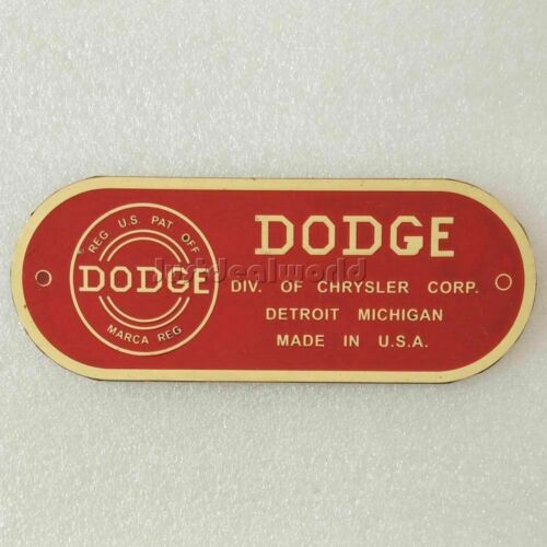 1940-50 Dodge Car Firewall Data Plate Brass Acid Etched Red Enamel@VPD