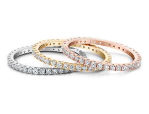 1.50 克拉 (CTW) 白色托帕石三色戒指套裝純銀