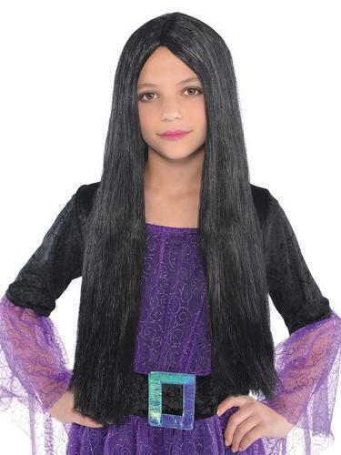 Long Straight Streaked Witch Girls Wig Halloween Fancy Dress Costume Accessory