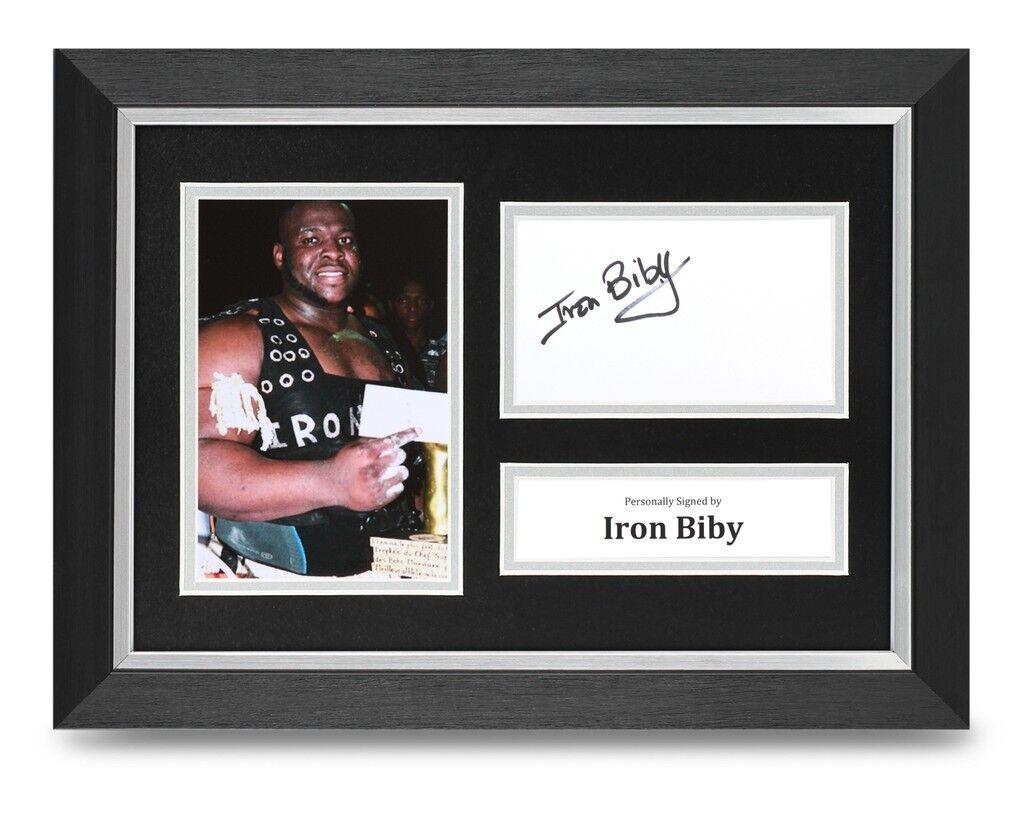 Iron Biby Signed A4 Framed Photo Display Strongman Autograph Memorabilia + COA