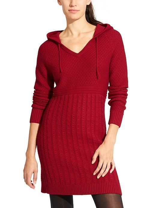 ATHLETA Borealis Hoodie Dress, NWOT, Größe Small, rot, Sold Out in Stores