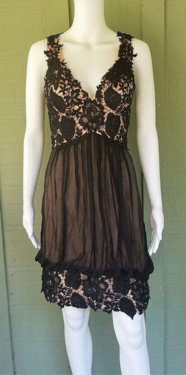 JOVANI schwarz Silk Beaded Lace Cocktail Dress 12`
