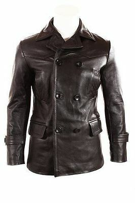 German Submariner WW2 Vintage Men's Black Real Leather Jacket/Coat