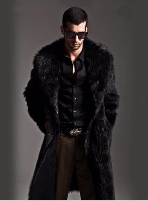 Men Faux Fur Coat Long Jacket Outerwear Winter Warm Luxury Overcoat Windbreaker