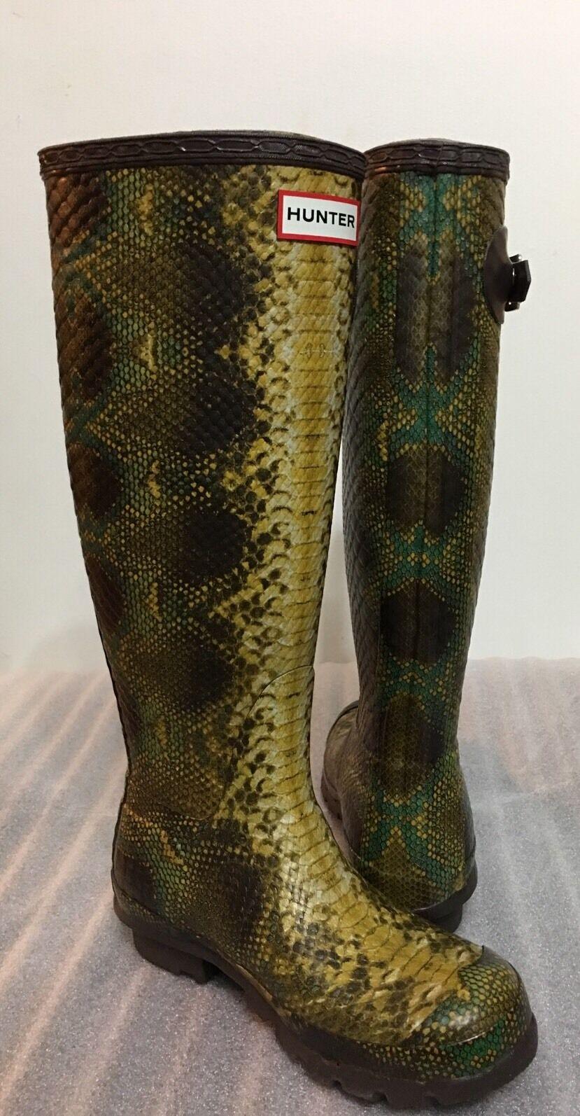 Hunter Limited Rare Carnaby Phyton Snakeskin Unisex Rain Boots Size 4M/5F