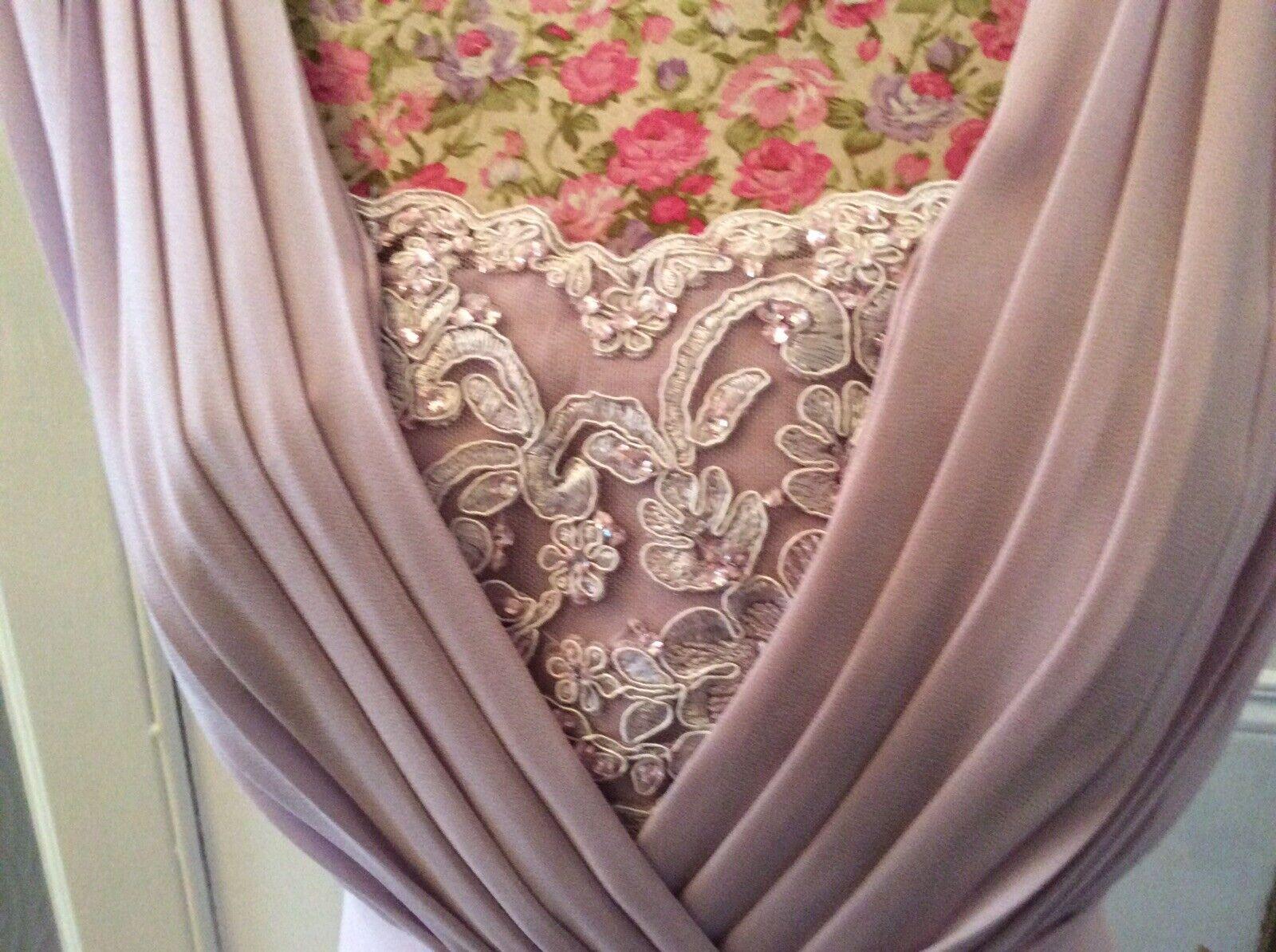 Jacques Vert Dusty Rose dentelle insérer robe de soirée taille 12 Excel Cond Away 4.9