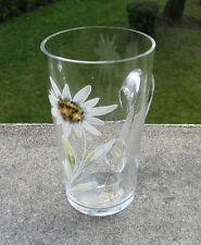 Superbe ancien verre de curiste émaillée fleur Edelweiss Suisse Art Nouveau 1900