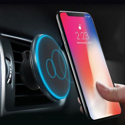 Auto Qi Ladegerät Blau Rot LED Lampe + Lüftung Magnet Halterung Für iPhone 8 / X