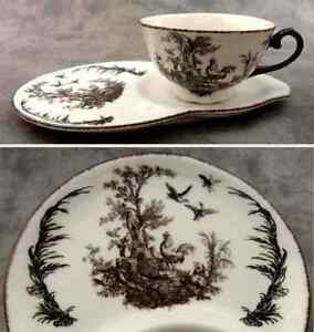 BLACK & WHITE FRENCH COUNTRY TOILE TEA AND TOAST SET ~Tea and Crumpet Set ~
