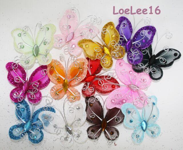 "20 PCS 2"" Organza Butterflies Craft Wedding Party Decoration Choose Colors"