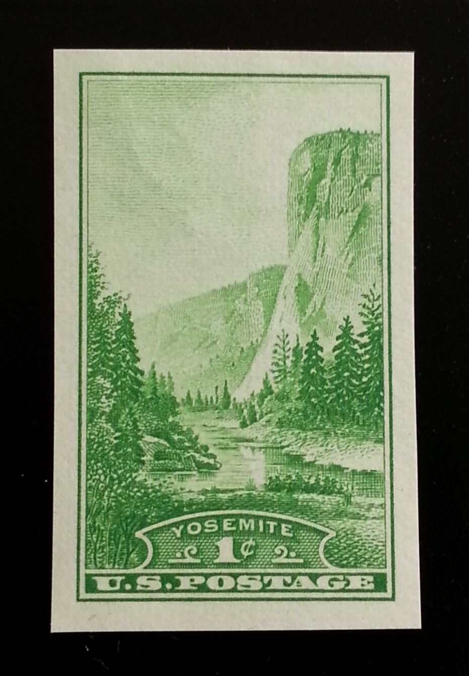 1935 1c Yosemite, Imperforate Single Stamp issued witho