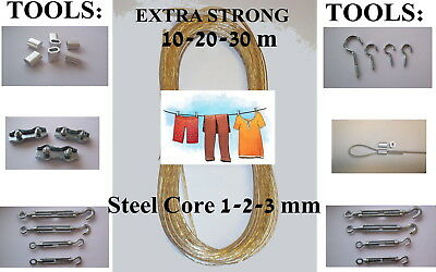 WASHING CLOTHES LINE STEEL METAL CORE 1mm 2mm 3mm FIXINGS HOOKS TURNBUCKLES