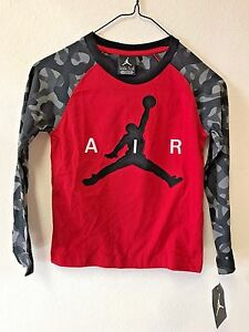 0c5d095a876 NEW Nike Boy's Jordan Jumpman Long Sleeve Shirt Red w/ Black/Grey ...