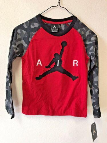 NEW Nike Boy/'s Jordan Jumpman Long Sleeve Shirt Red w// Black//Grey Elephant Print
