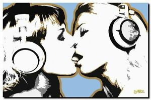 Steez Dj Chicas Besos Calidad Lona Impresión de Arte Pop Poster-Dj Arte - 32x24-A1