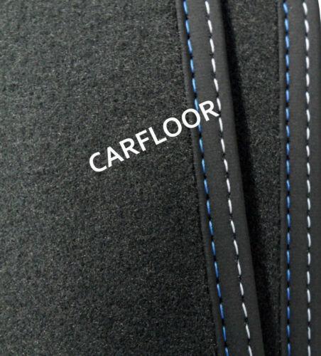Für VW Tiguan ab 4.16 Fußmatten Velours Deluxe Nubukband Doppeln blau-weiß