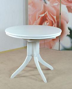 Tisch Ausziehbar Rund Esstisch Kuchentisch Esszimmertisch Weiss Ebay