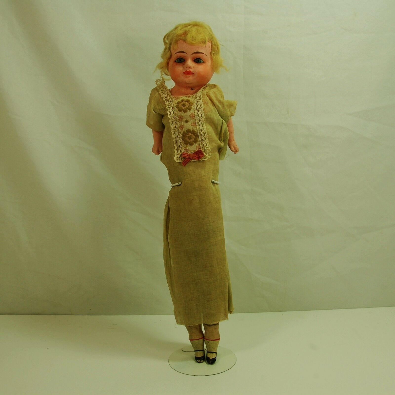 Early Antique German Paper Mache  straw Doll Glass Eyes Painted Mouth 21