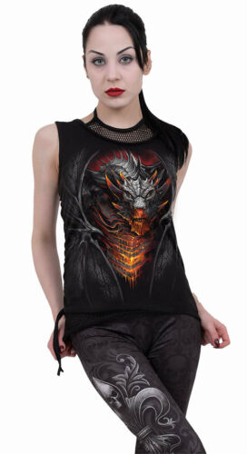 Spiral Direct DRACONIS 2in1 Neck Tie Mesh Top//Tribal//Tattoo//Dragon//Ann//Goth//Top