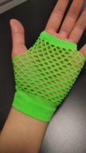 80's Fishnet Short Mesh Gloves Neon