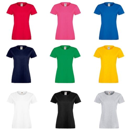 3 Or 5 Pack Fruit of the Loom Lady Fit Sofspun Short Sleeve Plain Casual T-Shirt