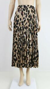 NEW-LOOK-Womens-Brown-Leopard-Print-Casual-Long-Pleated-Midi-Skirt-UK-6-to-18
