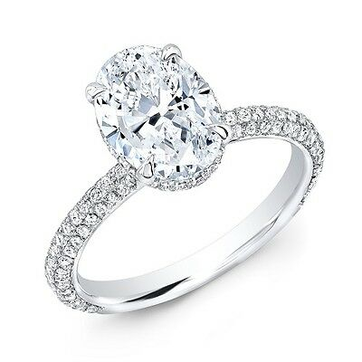 1 15 Ct Oval Cut Micro Pave Diamond Engagement Ring Gia Natural Ebay