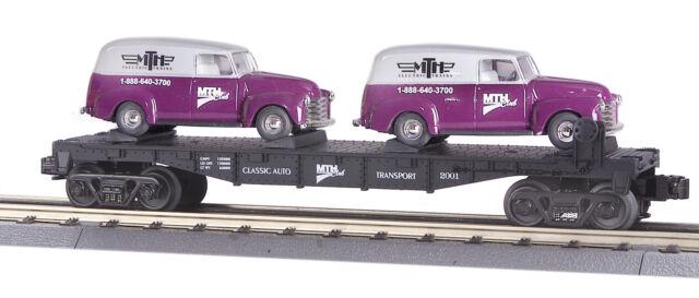MTH RailKing 30-76002 MTHRRC Flat Car With Two ERTL 1951 Panel Vans O Gauge