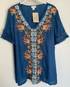 """NWT Sundance Catalog Blue Embroidered """"Rossi Top"""" Size XS $168"""