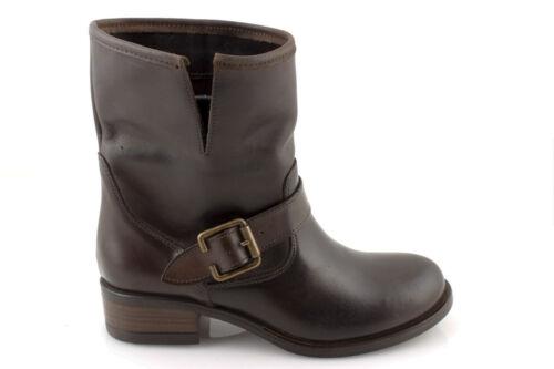 Stivali donna stivaletti biker boots invernali in pelle neri grigi marroni ITALY