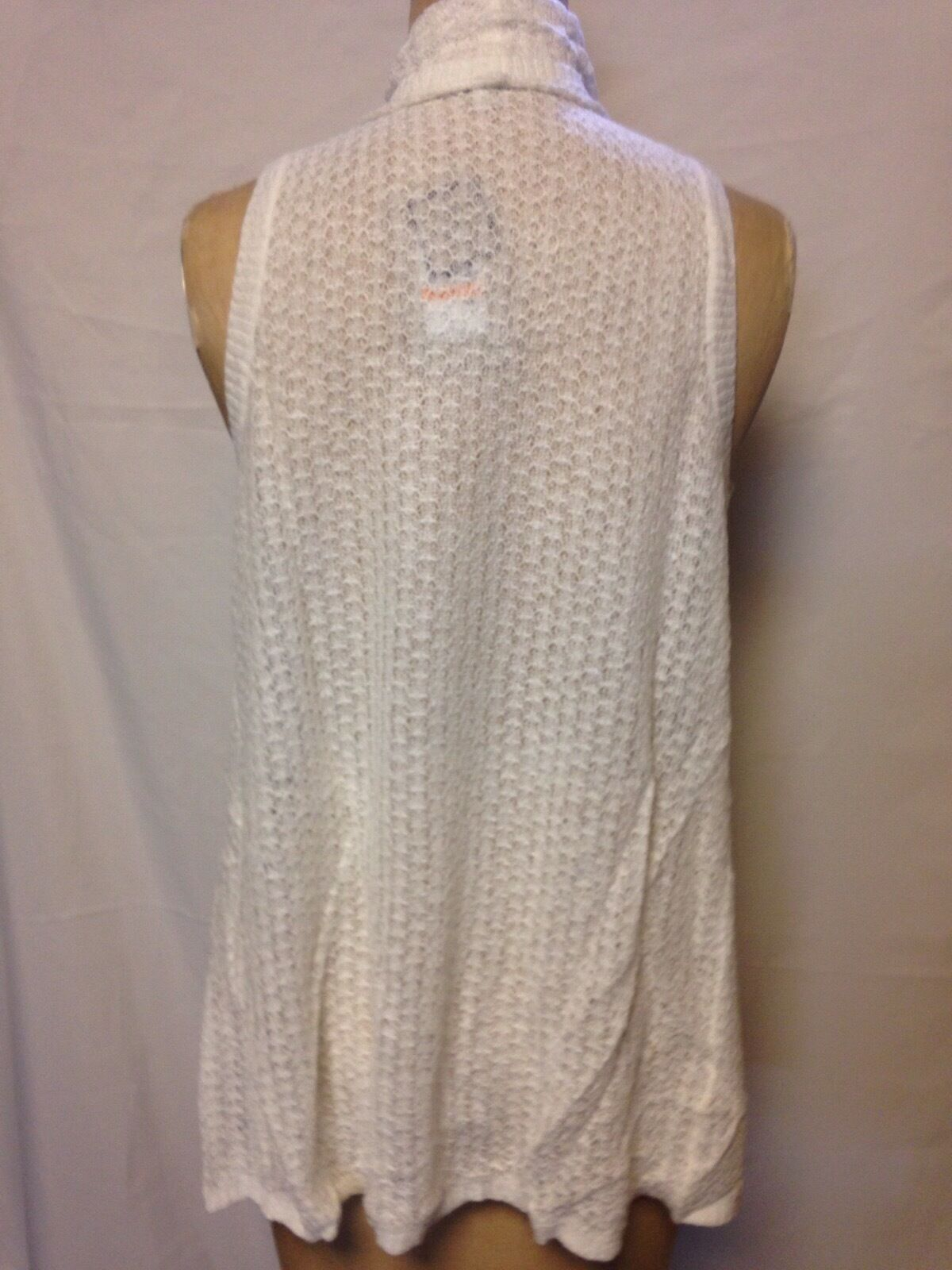 G H Bass & Co Iris Waterfall Open Open Open Front Vest Cardigan Off-White GS675089 NWT  69 313492