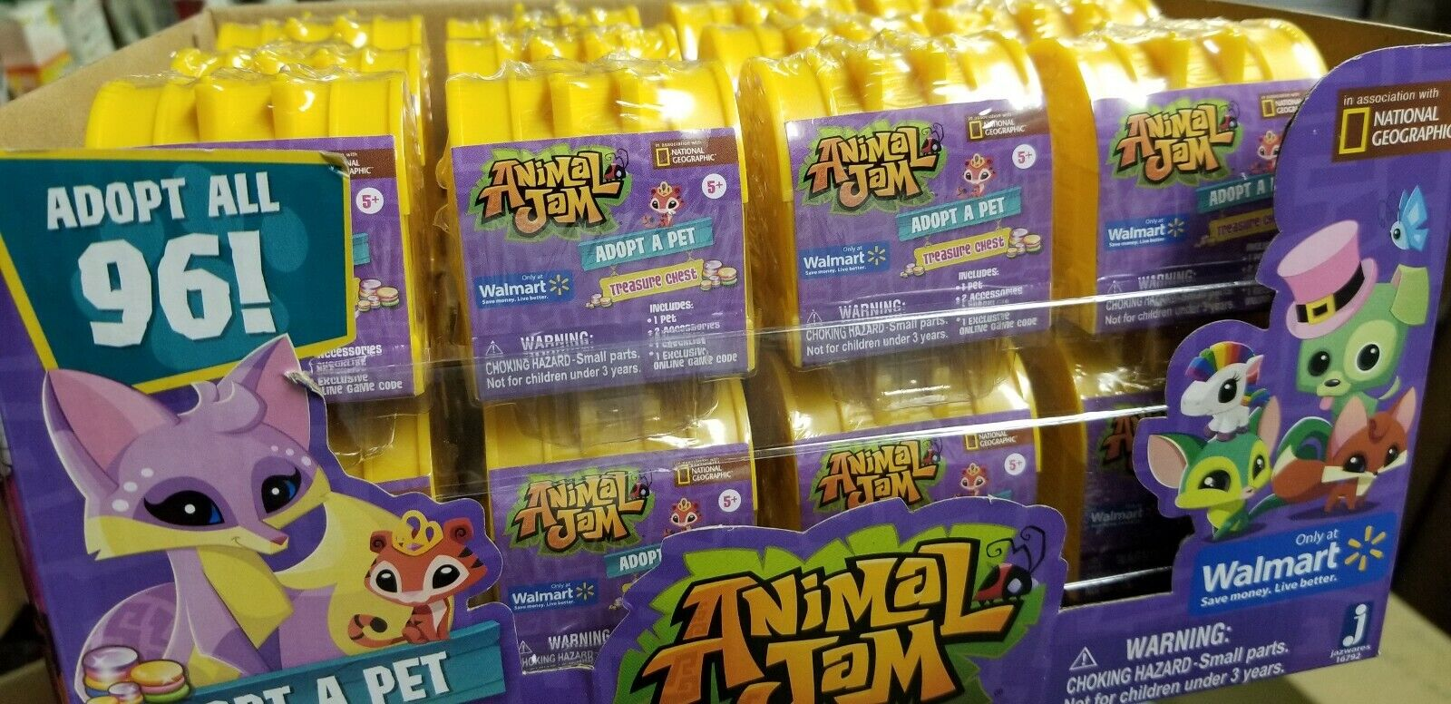 Animal Jam Adopt A Pet Treasure Chests Mystery Case of 24 All Yellow