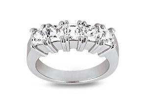 Natural-0-90ct-Diamond-Wedding-Band-Ring-10k-White-Gold-Princess-I-SI2-Prong-Set