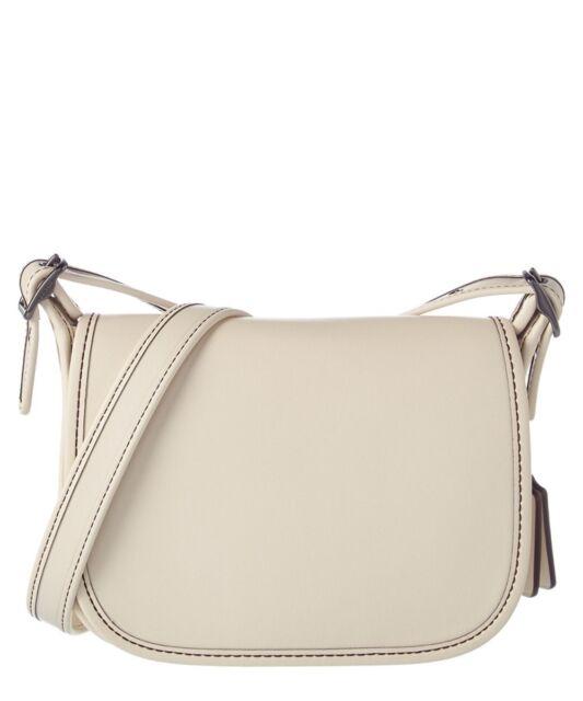 Coach Women S Glovetanned Leather Saddle Bag 18 Dk Chalk Handbag For Sale Online Ebay