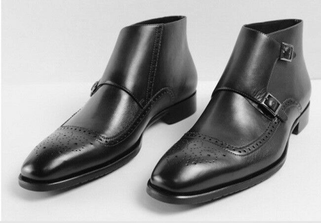 Mens Handmade Latest Double Monk Straps with Brogues Leather Boots, Men footwear